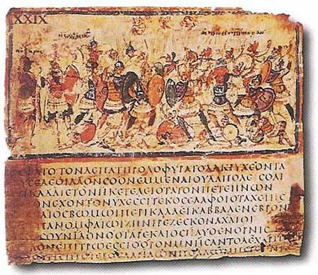 Image of manuscript of Homer's Iliad. The bottom half of the manuscript includes the Greek text of the Iliad. The top portion of the manuscript depicts the Trojan War.
