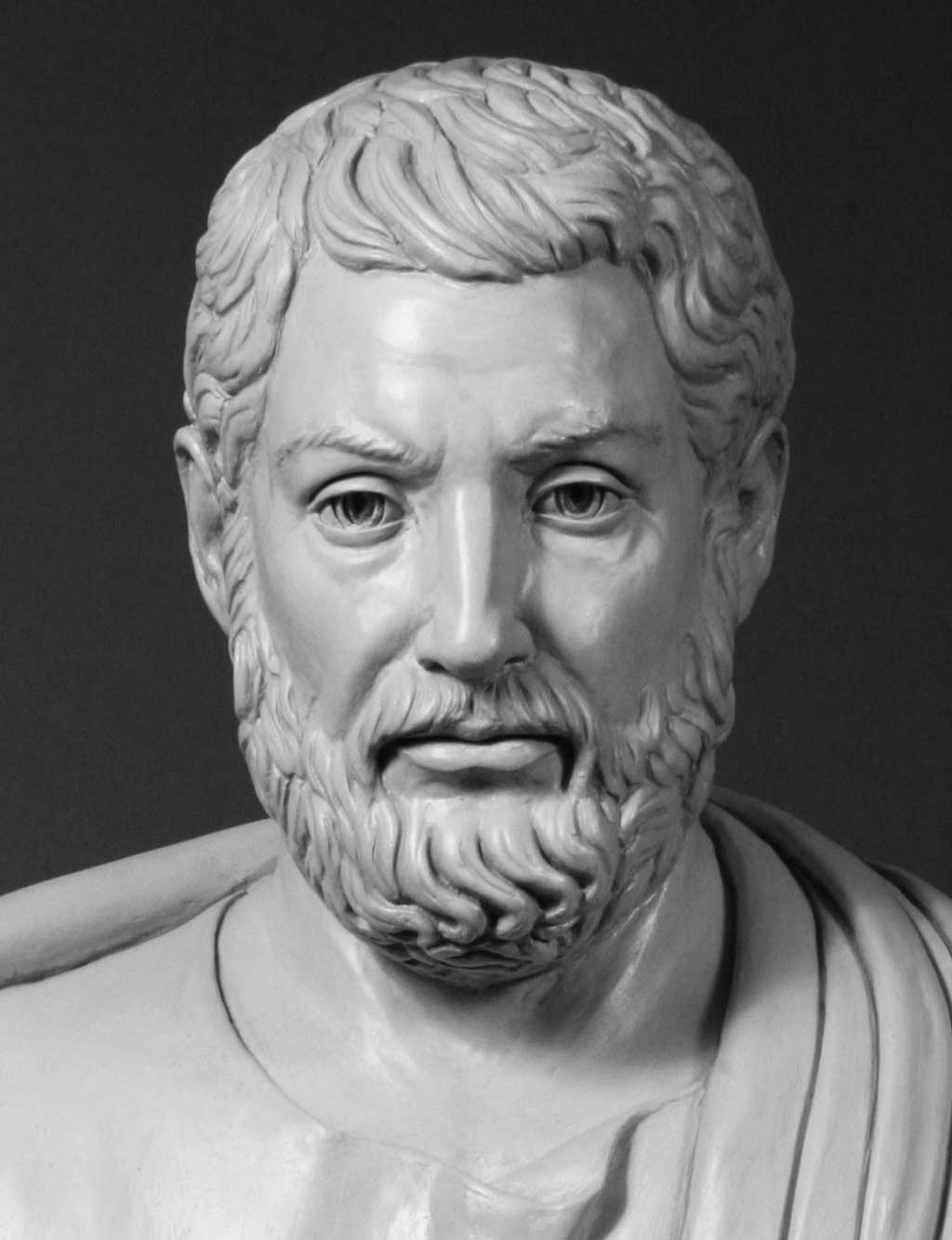 Modern bust of Cleisthenes, known as 'the father of Athenian democracy,' on view at the Ohio Statehouse, Columbus, Ohio. Cleisthenes, the father of Greek democracy, reformed traditional Athenian government controlled by ruling tribes into the first government 'of the people' (a demos, or democracy).