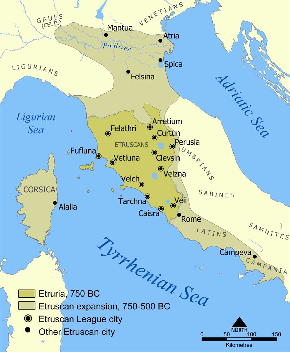 Map of Italy highlighting two zones of Etruscan civilization from 750–500 BCE. The first zone highlights Etruscan civilization in 750 CE in central Italy. The second zone highlights Etruscan civilization stretching from Northern Italy to southwest Italy.