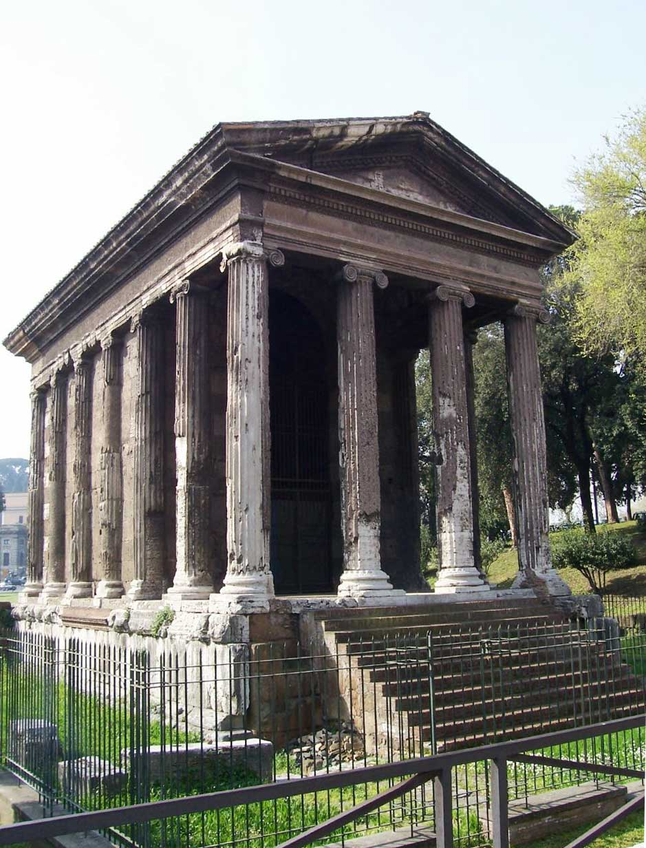 This photo shows the Temple of Portunus. With its slanted roof, columns, and platform it is a typical Roman Republican temple in Rome, circa 75 BCE.