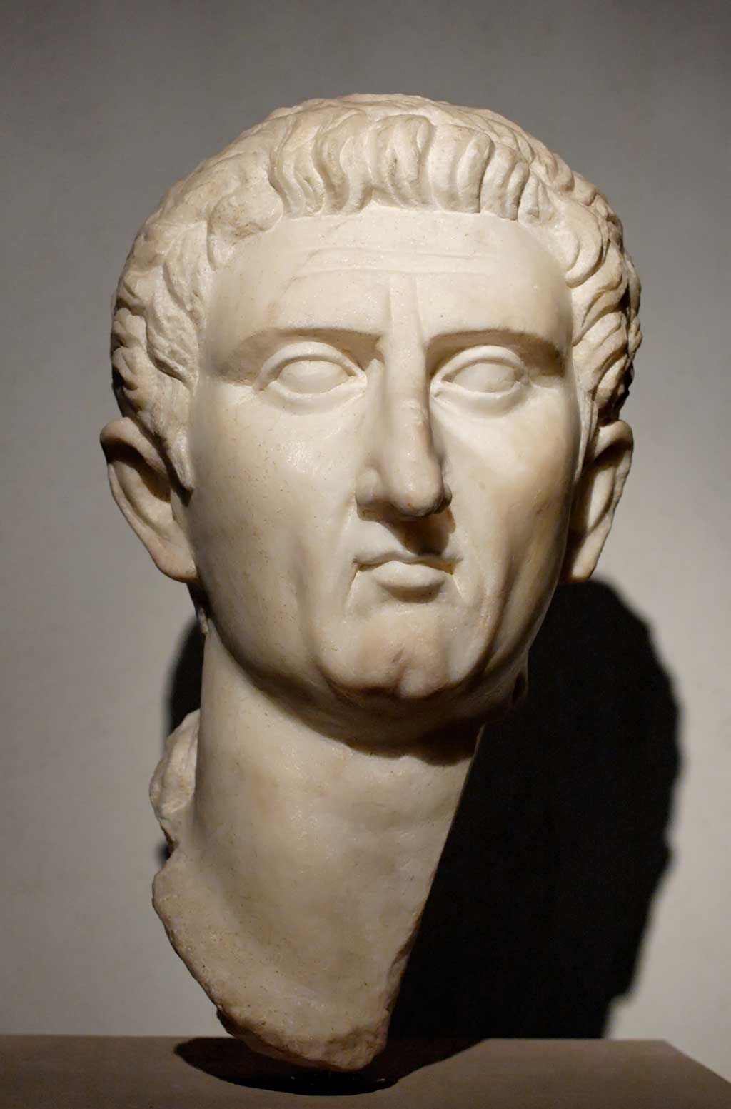 This is a photo of a bust of Nerva. The portraiture of Nerva and later of Trajan display an increasing militaristic look.