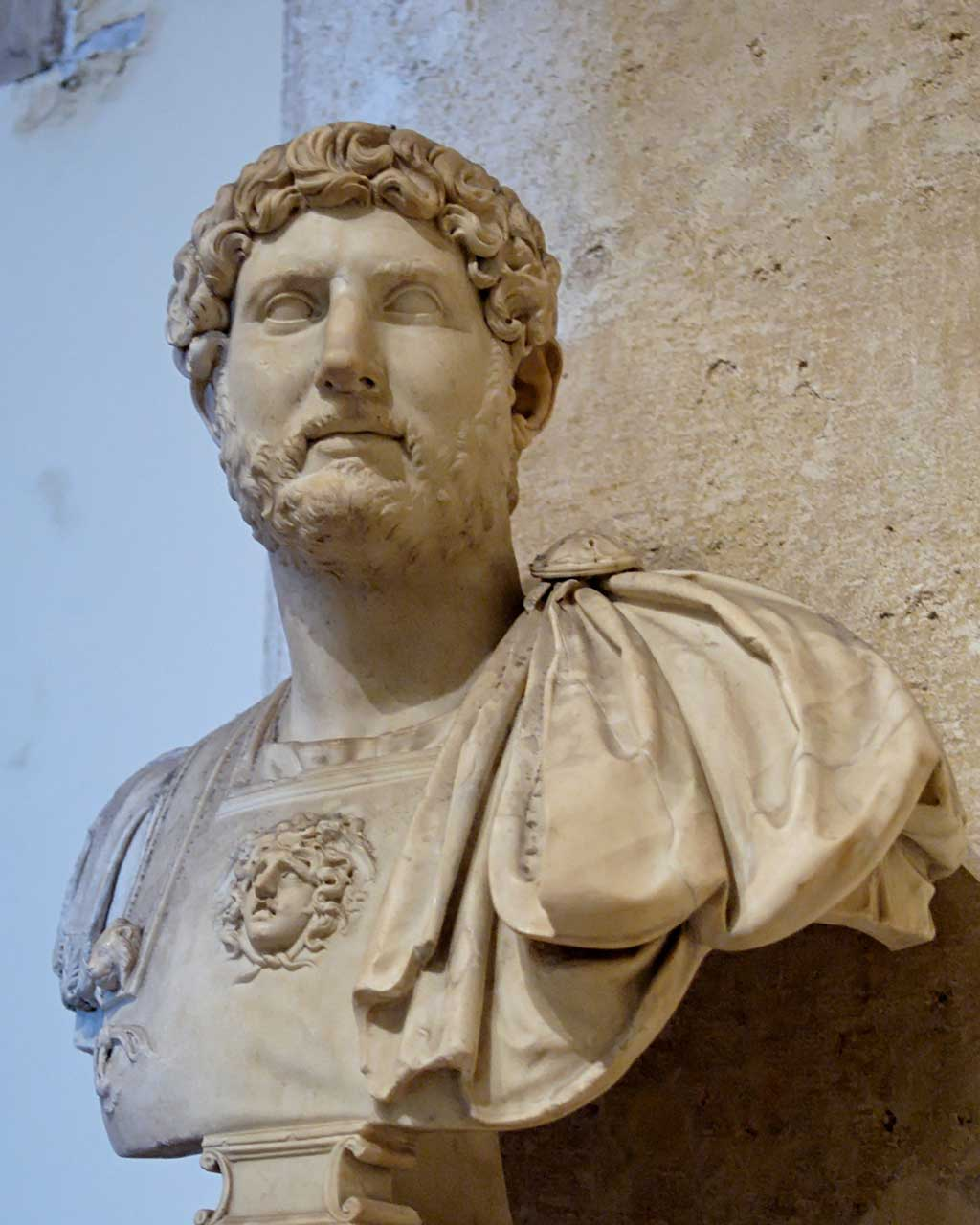 This photo shows a bust of Hadrian. Hadrian set a fashion for beards among Romans, and most emperors after him also wore a beard.