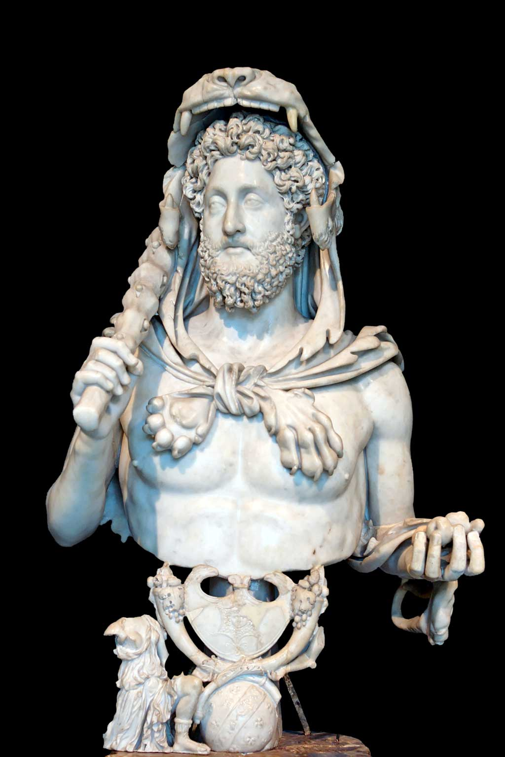 This is a bust of Commodous in which the bearded emperor wears lion headdress emblematic of his belief that he was a reincarnation of Hercules.