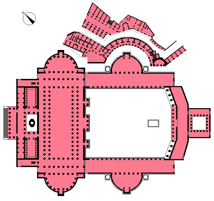 This is the ground plan of the Forum of Trajan and Trajan's Markets. From above, a large square courtyard sits as the entryway to the rectangular civic building on the way to Trajan's temple.