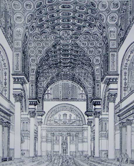 This is a drawing of the Baths of Caracalla. This artist's reconstruction shows a groin-vaulted interior, Composite columns, and decorative panels on the ceiling. Human figures have been added for scale.