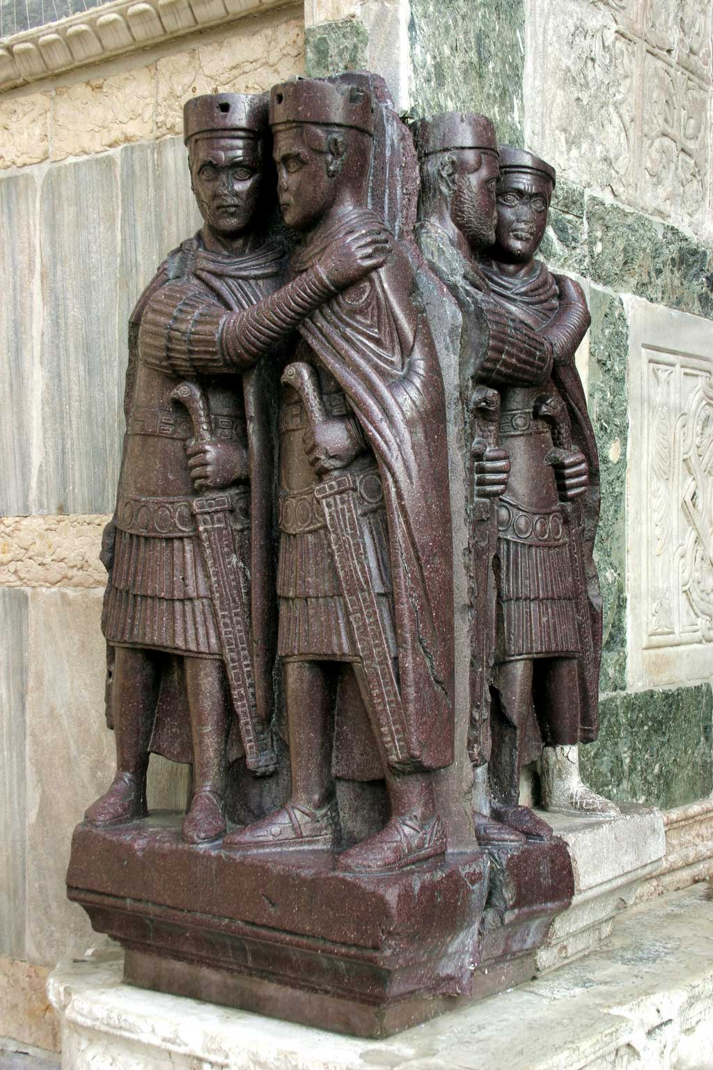 This is a photo of the Portrait of the Tetrarchs. The Portrait of the Tetrarchs is originally from Constantinople, but since the Middle Ages it has been fixed to a corner of the facade of St Mark's Basilica in Venice, Italy.