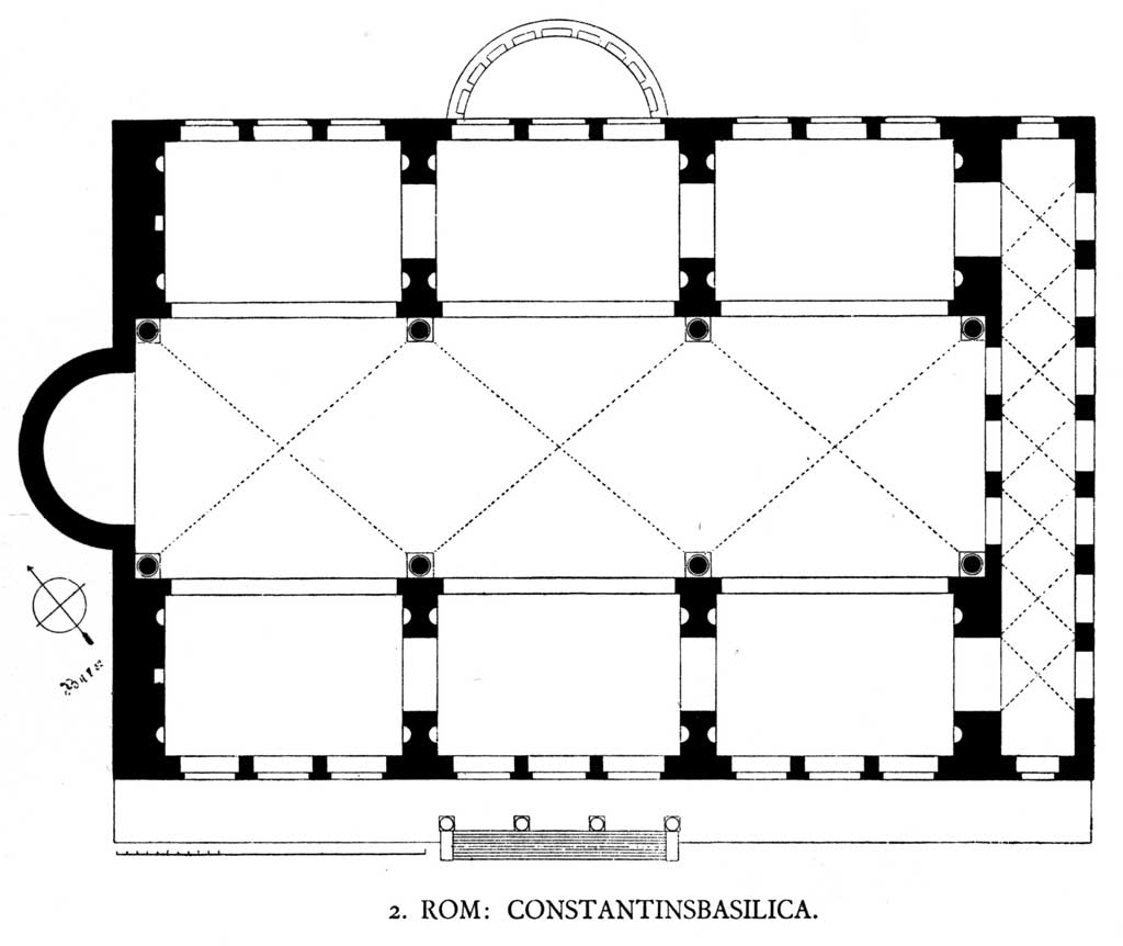 This is a diagram of the Basilica Nova. It shows the ground plan of the Basilica Nova in Rome. From above one sees the rectangular hallway leading towards the rounded nave towards the back of the building.