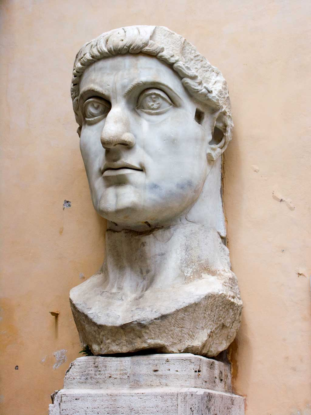 This is a photo of the head of the colossus of Constantine. The head is over eight feet tall and 6.5 feet long.