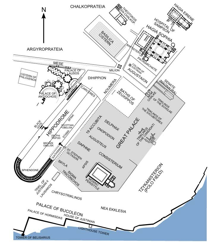 This is a map of the imperial district of Constantinople in present-day Istanbul, Turkey. Among the locations illustrated on the map include the Great Palace near the Bosphorus strait and the Hagia Sophia cathedral to its north.