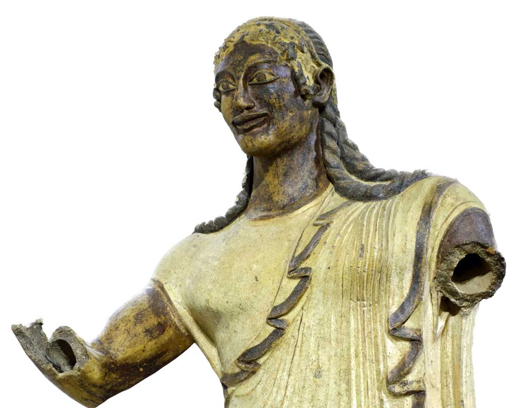 The statue of Apulu is bronze statue with braided hair and a white toga. Both arms are severed.