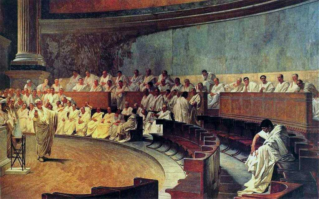 The image is one of Cicero standing before the Roman Senate, denouncing the patrician Catilline for an assassination plot he planned against fellow Senators.