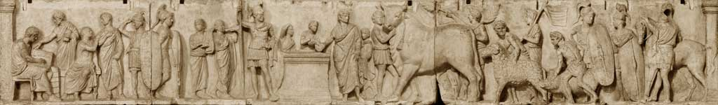 This is a photo of a panel from the Altar of Domitius Ahenobarb. It depicts the census, a uniquely Roman event of contemporary civic life.