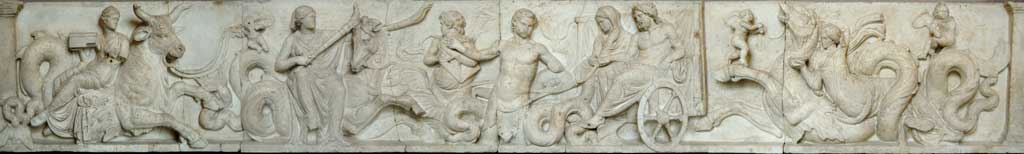 The other three panels of the Altar of Domitius Ahenobarb which depicts the mythological wedding of Neptune and Amphitrite.