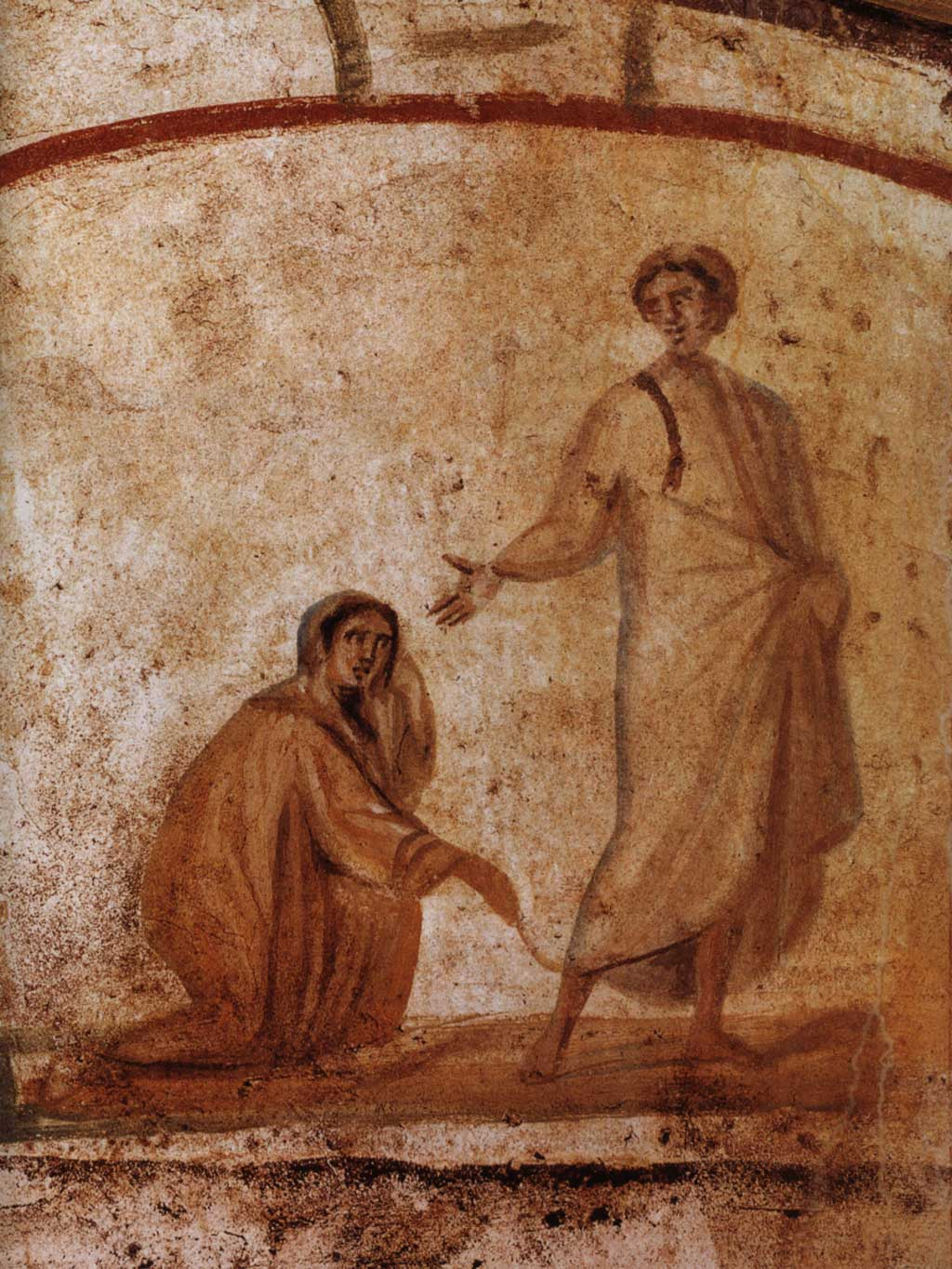 Fresco of a woman reaching for the bottom of Jesus's robe while Jesus turns around to acknowledge her presence.