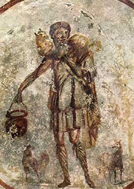 Catacomb fresco of the The Good Shepherd. The shepherd has a lamb rape on his shoulders and lambs sitting around his feet.