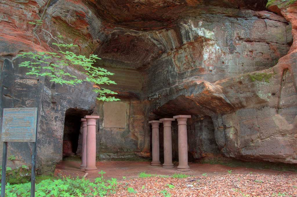 A temple-cave dedicated to Mithras found in the German city of Saarbricken. At the entrance of a cave stand five columns through which a ritual procession might have walked.
