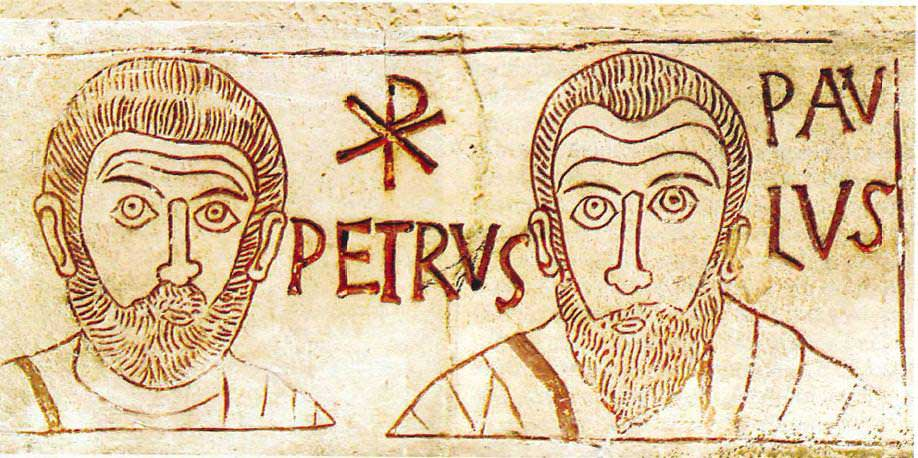 Stone etching of St. Peter and St. Paul. Some attempt at realism is present here. Indeed, the illustrator has endeavored to distinguish the two bearded men from one another by figuring their heads differently. Peter possess a round shape head while Paul's head is more oval in orientation.