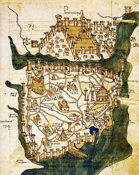Ancient map of the city of Constantinople detailing the city's old fortifications along the Bosphorus strait as well ell as the cathedrals and places of residence within the city.