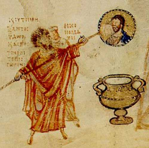 This Image comes from a Byzantine manuscript. It depicts a man in red robe preparing to destroy an image of Christ.