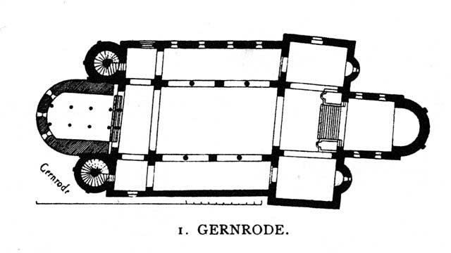 Floor plan of St. Cyriakus at Gernrode depicting the nave and the two arcades on both ends of the facility.