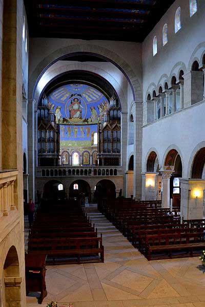 Image of St. Cyriakus from the interior. From this vantage, the viewer shares the perspective of the chancel, looking into the navel of the cathedral and in image of the heavenly Christ within the gallery of the rear arcade.
