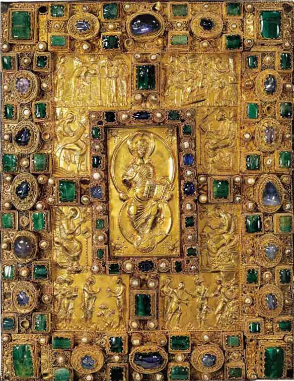 Cover of the Codex Aureus of St. Emmeram. The Bible has a gold-laden cover and the corner of the book has been bejeweled. At the center of the codex is a raised image of a seated Christ.