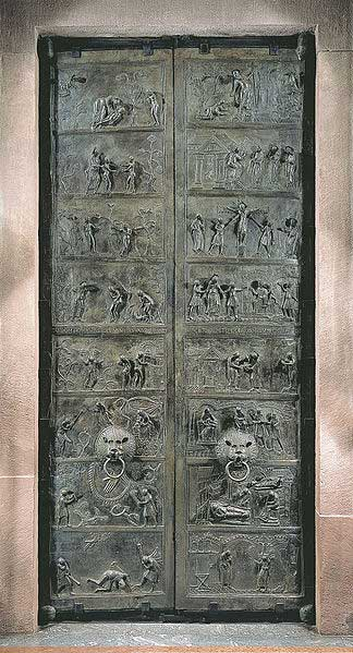 Bernward Doors, St. Mary's Cathedral at Hildesheim (c. 1015). These bronze doors bear relief sculptures depicting the history of humanity from Adam to Christ.