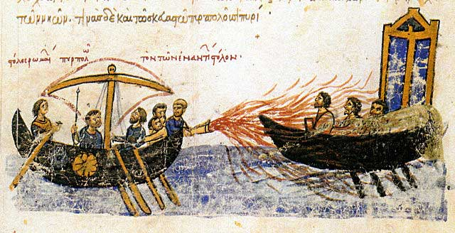 Image from an illuminated manuscript, the Skylitzes manuscript in Madrid, showing Greek fire in use against a fleet of enemies.