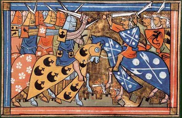 Painting of Louis VII of France leading his armored cavalry against an unarmored Muslim cavalry.