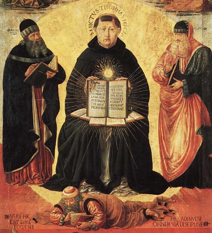 Painting of St. Thomas Aquinas sitting between Aristotle and Plato. Aquinas holds his theological work, Summa Theologica, in his lap. The brilliant light that emanates from the book connote its inspired status.