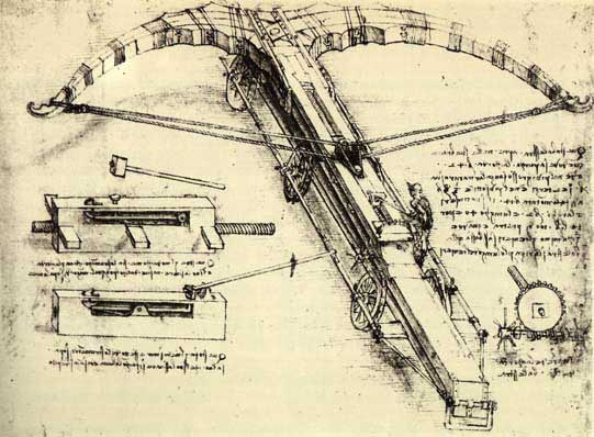 Paper and ink sketch of the crossbow mechanism by Leonardo da Vinci