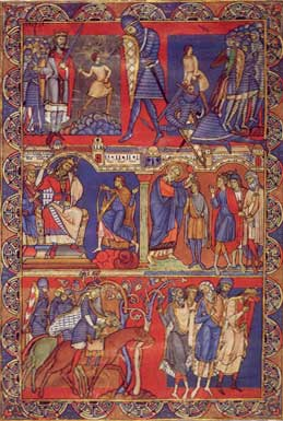 Picture of the 'Morgan Leaf', or page from the Winchester Bible. This particular leaf tells the story of David becoming king in five illustrated boxes.
