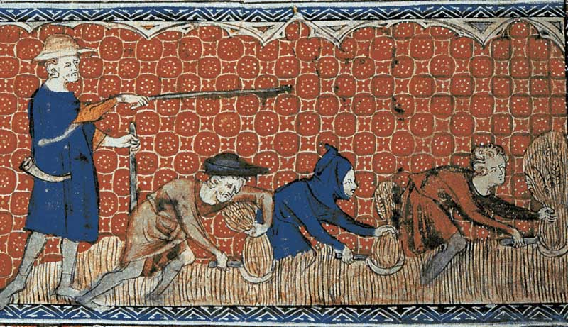 Medieval illustration depicting manorial manager directing three peasants in their field labor.