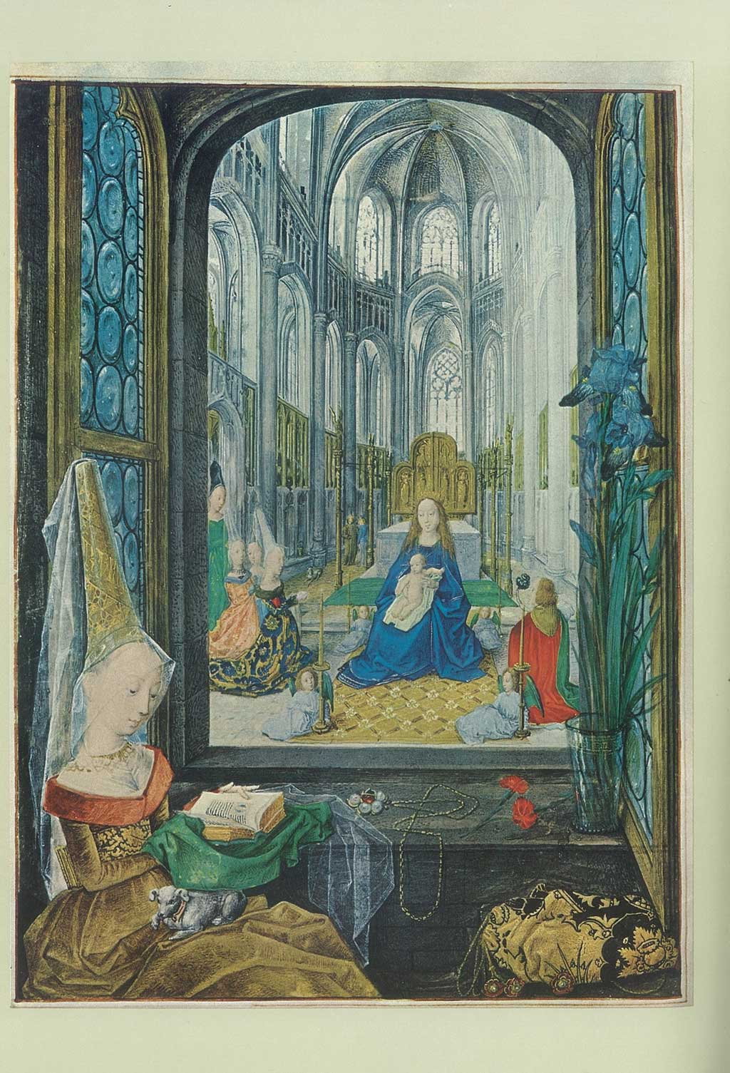 Painting of a woman reading a book, sitting in front of a miniature depiction of Mary with the child Jesus on her lap.