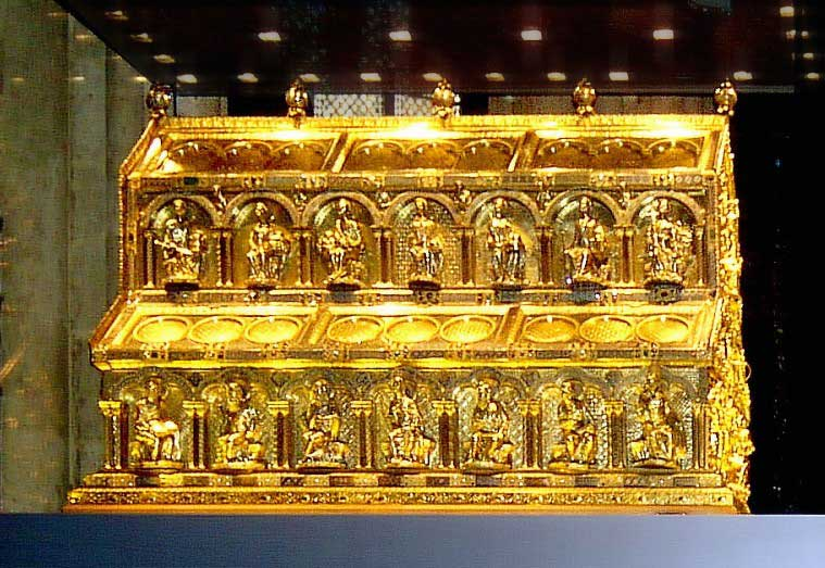 Image of the glimmering Shrine of the Three Kings as Cologne Cathedral. Laden with gold, legend holds that the sarcophagus holds the bones of the Magi who visited Jesus at his birth.