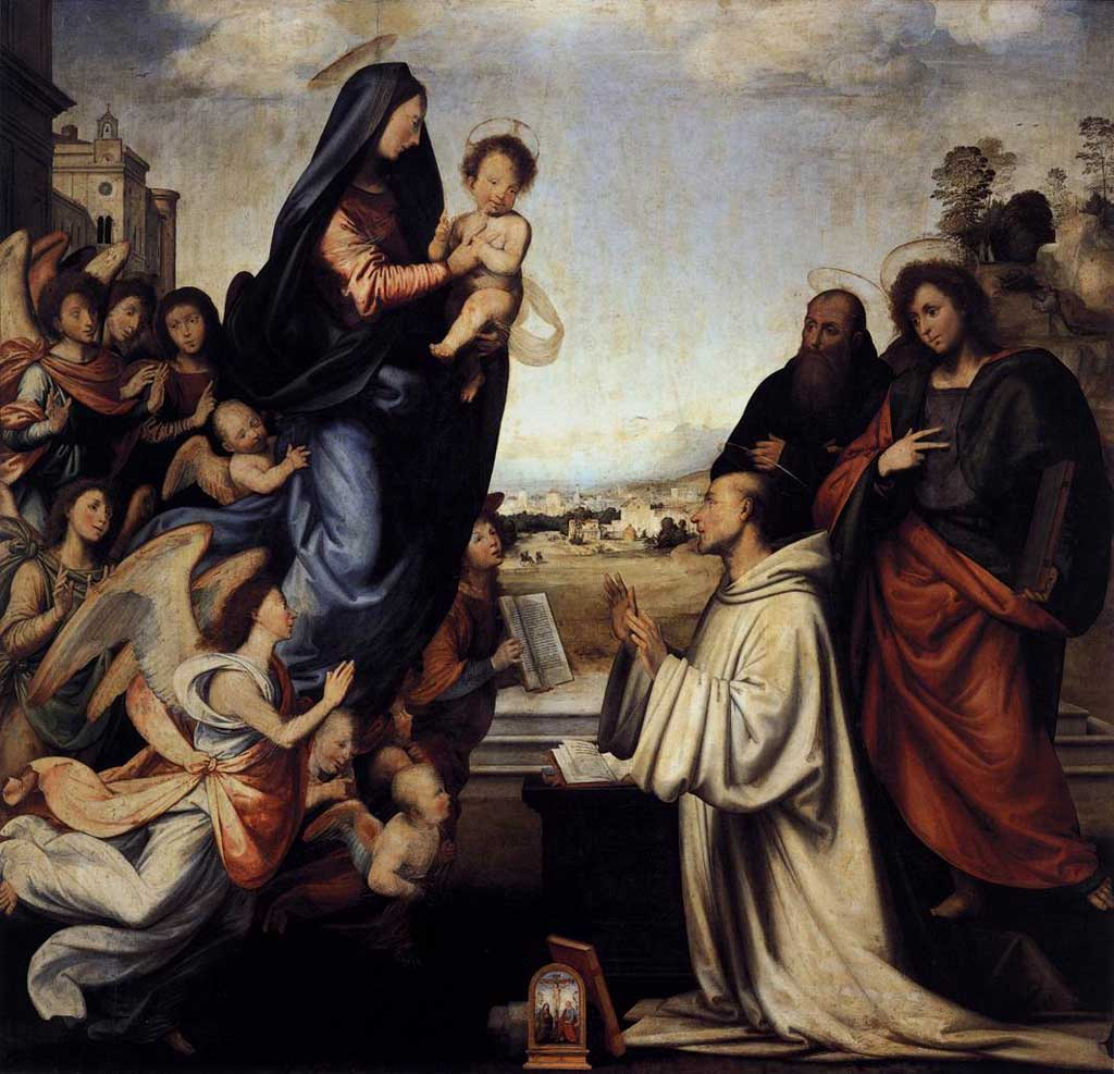 Painting of white-robed St. Bernard kneeling before the Virgin and child along with a throng of angels.