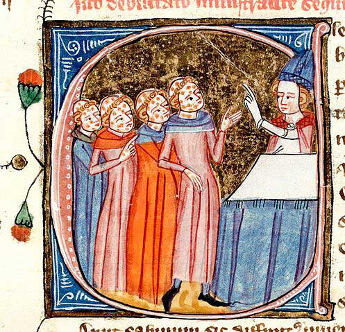 A manuscript illustration of a bishop blessing four individuals who have fallen victim to the Bubonic Plague ( Omne Bonum, c. 1360–1375)