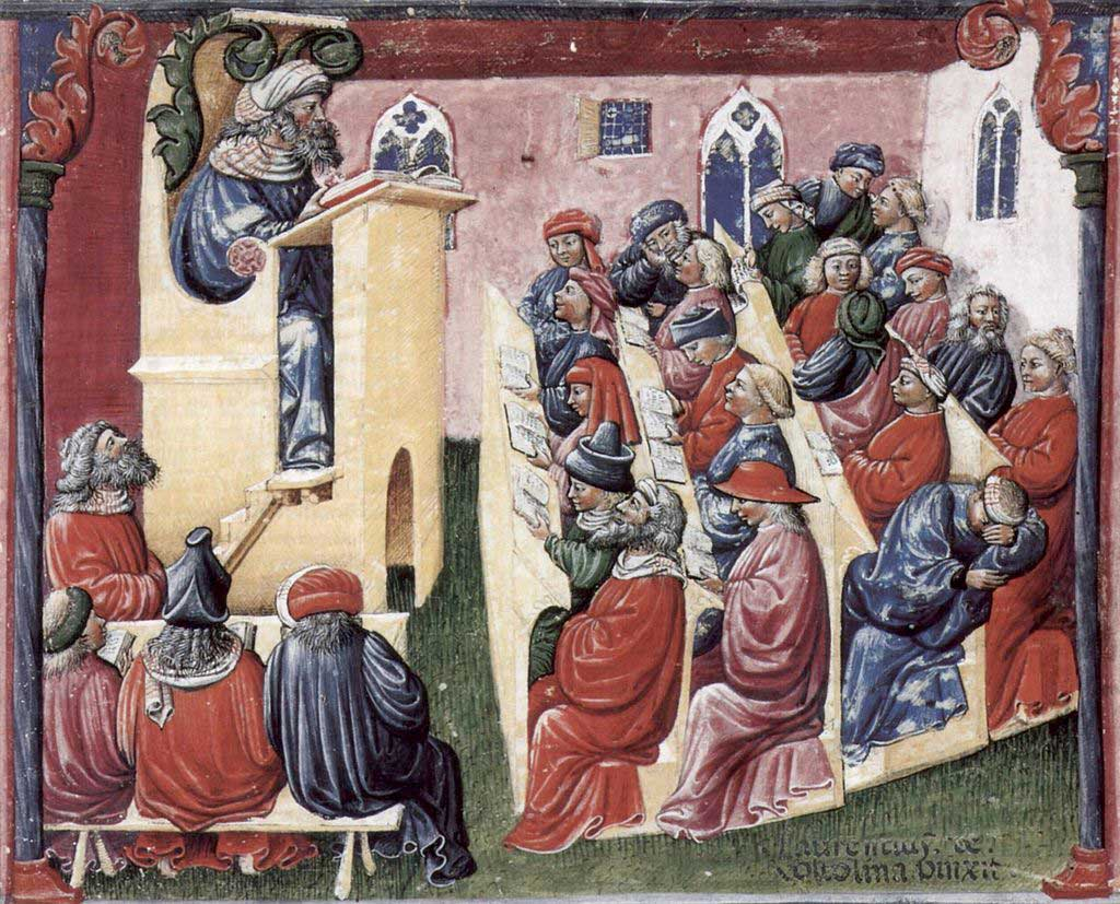 Illustration of a university class room from the Middle Ages. In this image, the professor lectures from a raised to students situated in rows below. Not all of the students in the classroom are paying attention, with one student sleeping while others converse with one another.