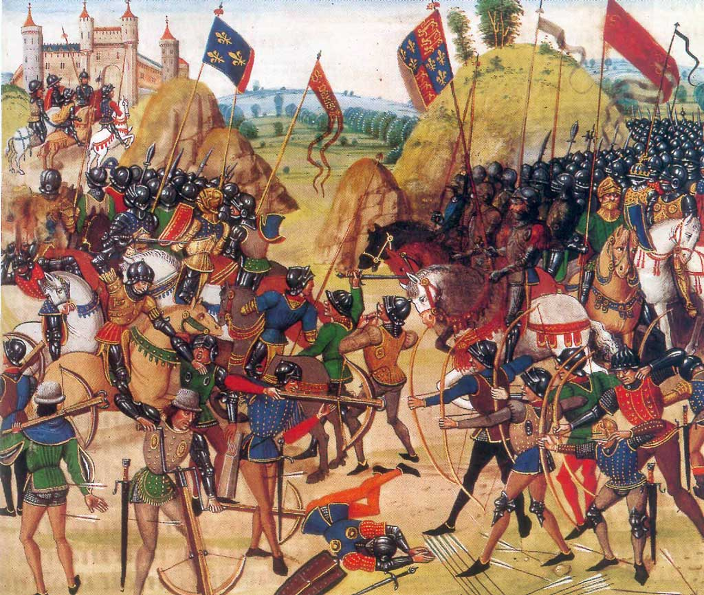 A period illustration of the Battle of Crecy. Anglo-Welsh longbowmen figure prominently in the foreground on the right, where they are driving away Italian mercenary crossbowmen.