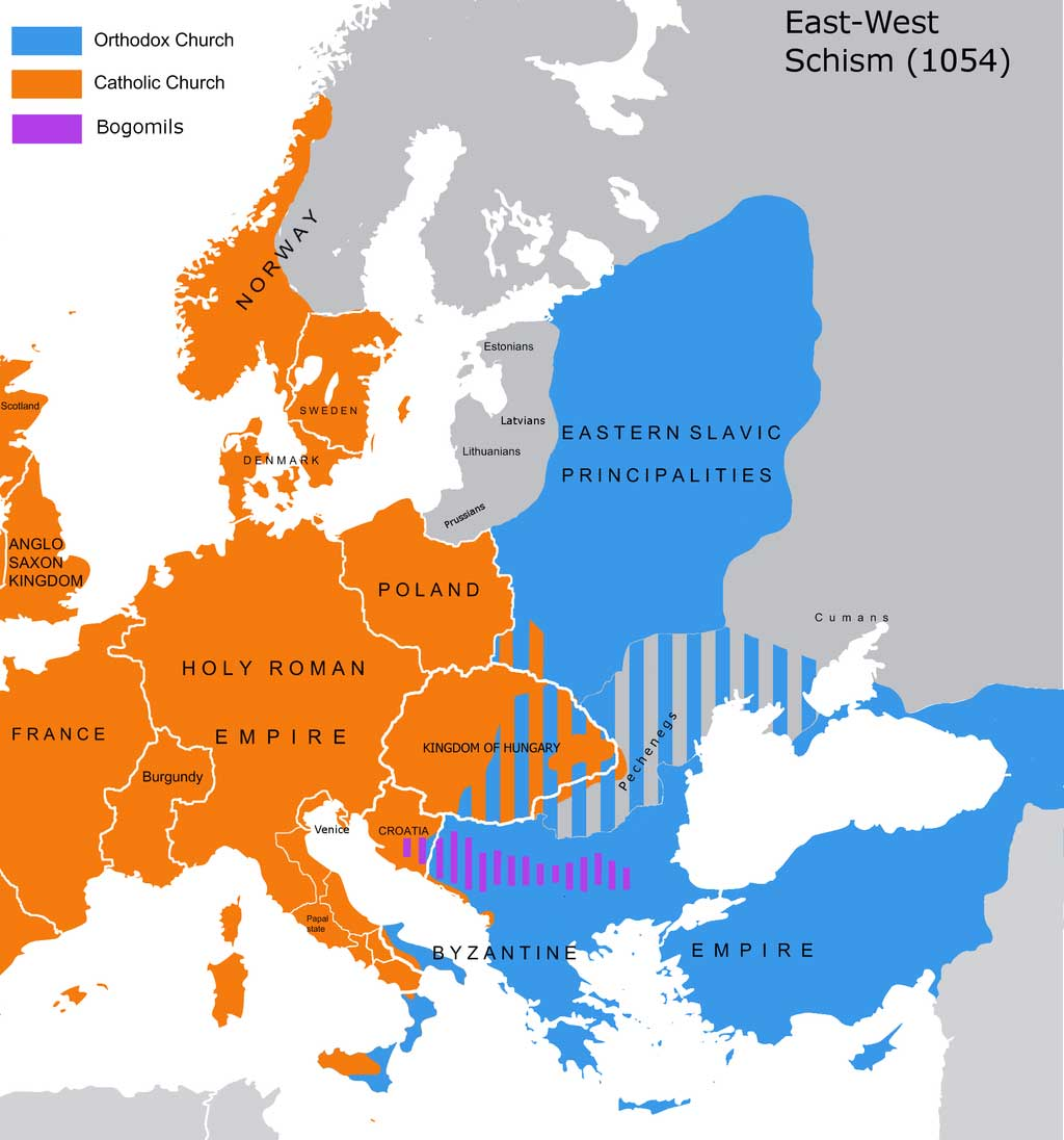 Map of Europe at 1054, at the time of the East-West Schism. Shaded in orange to the left of the map are the kingdoms that comprise the Latin West such as the Holy Roman Empire in the region of modern day Germany and Italy, the Anglo-Saxon Kingdom in the region of the modern day Britain, and the kingdom of France. Shaded in blue to the right of the map is the Byzantine Empire comprising all of Eastern Europe and Turkey.