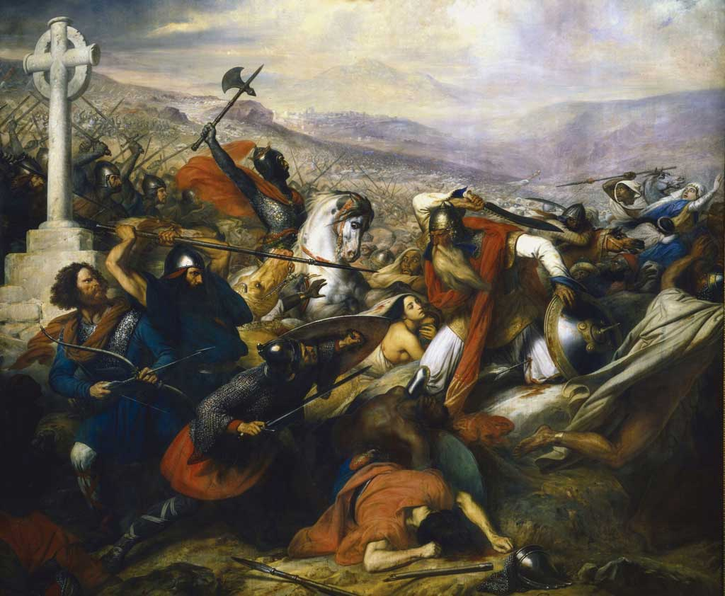 The painting by Charles de Steuben depicts an armored Charles Martel on his luminous steed, triumphantly leading his horde of soldiers against a the Muslim warriors of the Umayyad Caliphate, led by their general, 'Abdul Rahman Al Ghafiqi.