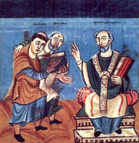 A painting of two students being taught by of the leading scholars of the Carolingian Renaissance, Alcuin.
