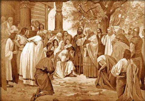 Artists illustration of the brothers Cyril and Methodius bringing Christianity to the Slavic peoples.