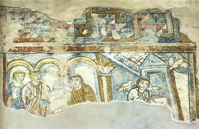 Mosaic illustrating Jesus looking over St. Gregory's shoulder while Gregor speaks with Paul the Deacon.