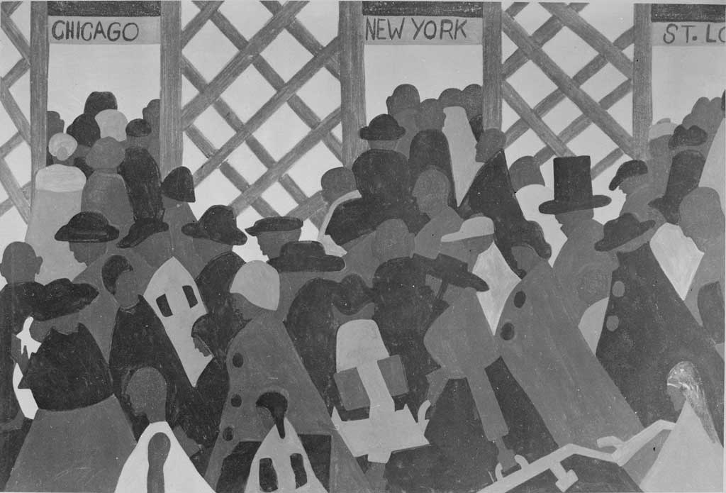 Modern style painting of a crowd of faceless migrants about to embark on a journey to three large cities in the north: Chicago, New York, and St. Louis. The silhouetted shapes of the crowd, their clothing, hats, and luggage creates a sense of action as the crowd pushes toward the doors.