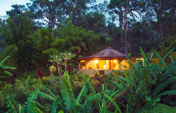 Image of Tropical Cabin Retreat in the Jungle at Sunset