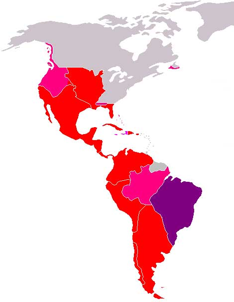 Map of the Spanish colonization of the Americas showing North and South America