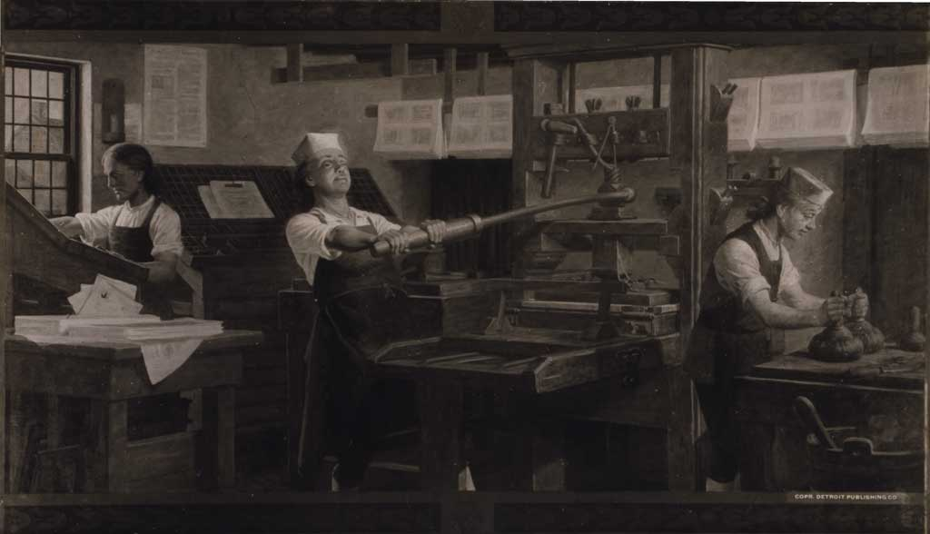 Reproduction of a Charles Mills painting by the Detroit Publishing Company. Depicts Benjamin Franklin at work on a printing press.