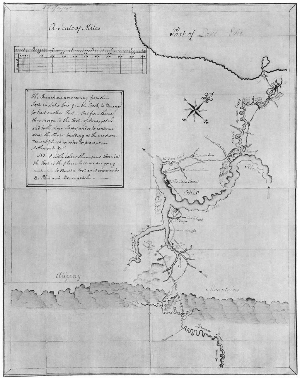 George Washington's hand-drawn map of the Ohio River and surrounding region containing notes on French intentions, 1753 or 1754