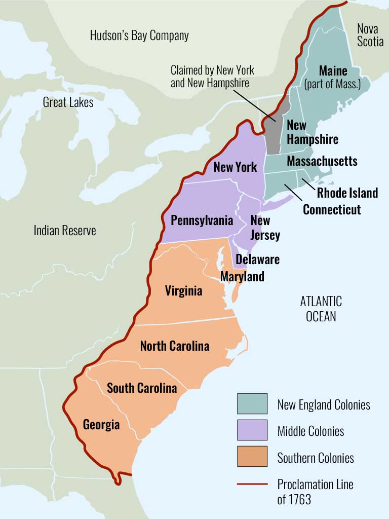 Map showing the English colonies along the Eastern seaboard, broken down into New England colonies (Maine, New Hampshire, Massachusetts, Rhode Island and Connecticut), Middle Colonies (New York, New Jersey, Pennsylvania, and Delaware), and Southern Colonies (Virginia, North Carolina, South Carolina, and Georgia)